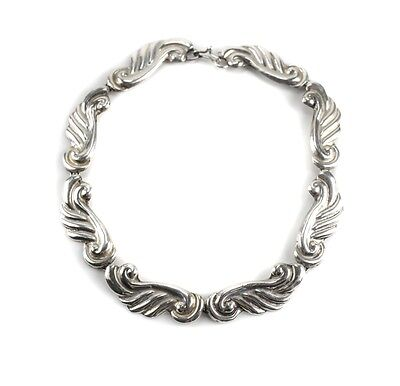 Lico Mexico Sterling Silver Choker Necklace, Winged scroll design.