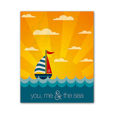 Beach Style Quote Print - You and Me Colorful Printed on Metal