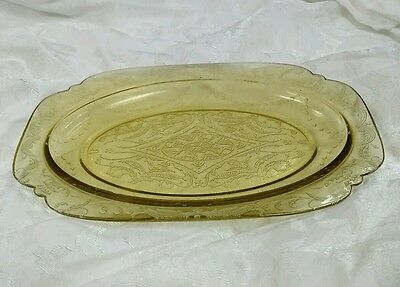 "Depression Glass Yellow amber serving platter 11.5"" x 8"""