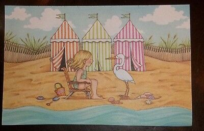 Magnet w/Mary Engelbreit Art Girl at beach with Pelican