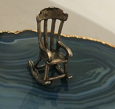 BEAUTIFUL Sterling Silver Miniature ANTIQUE ROCKING CHAIR Mini Decorative -L519