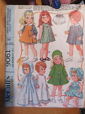 """VINTAGE 60's McCALLS BABY & TODDLER DOLL CLOTHES PATTERN - 9061 - 14"""" & 18"""""""