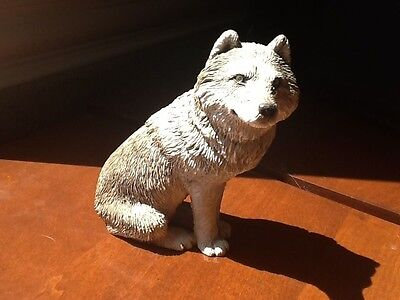Very Nice Sandicast Original Size Gray Wolf Sculpture Sitting M501 S Brue 1995