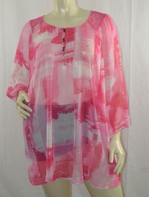 AVENUE WOMEN LOVELY SHEER TOP BLOUSE Sz 30/32 New without tags #NTT-224