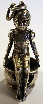 """Antique """" Girl on Potty """"  800 Sterling Silver Cigar Cutter - Fob"""