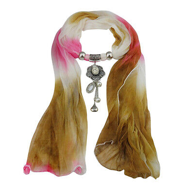 Fashion Womens Gradient Color Scarf Crystal Jewelry Pendant Tassel Scarf Brown