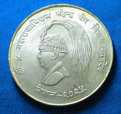 1968 Nepal  10 Rupees  Large Silver   Ad-934