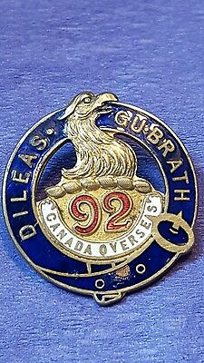 92nd Infantry Battalion Sweetheart Pin 48th Highlanders