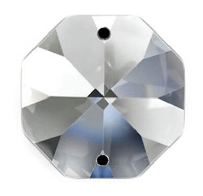 Set of 125 - 14 mm - Clear Asfour Crystal 1080 Octagon Crystal Prisms 2 Hole