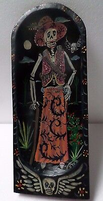 """20"""" Mexican Folk Art Carved Wood Dough Batea Bowl Kitchen Catrina Day of Dead"""