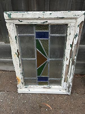 Antique Old English Leaded  Stained Glass Window #19