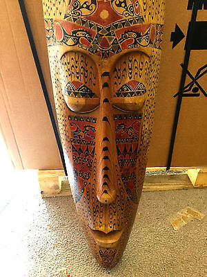 Large Wooden Sculpture Tiki Decorative Arts Carved Home Decor Ornament Wall Hang