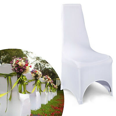 10x White Lycra Spandex Wedding Party Event Supply Strecthy Chair Covers Banquet