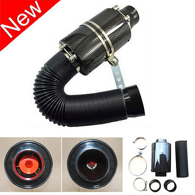 Universal Real Carbon Fiber Cold Air Intake System 3''Inlet Filter Box Induction