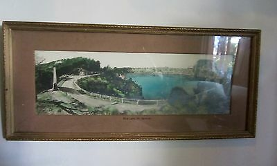 Antique Vintage small Historical Framed Photograph Mt.Gambier Blue Lake S.A.