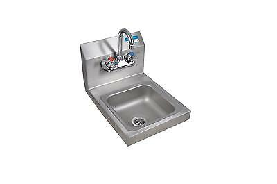 "BK Resources BKHS-W-SS-P-G Splash Mount Hand Sink 12""x16x12"" w/ Faucet & Drain"