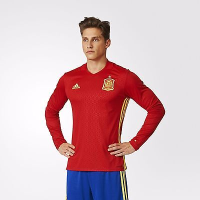 Adidas Spain 2016/17 Home Football Shirt Jersey Long Sleeve Red New AA5784 M L