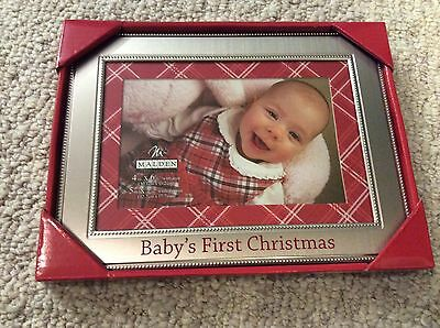 Baby's First Christmas 4 x 6 Picture Frame w Red & White Plaid Matte BNIB NEW!