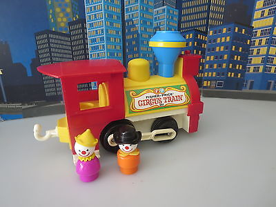 VINTAGE FISHER PRICE Circus  TRAIN WITH FIGURES CLOUN