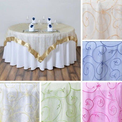 "24 Embroidered Organza 85x85"" SQUARE Large Table OVERLAYS Wedding Decorations"