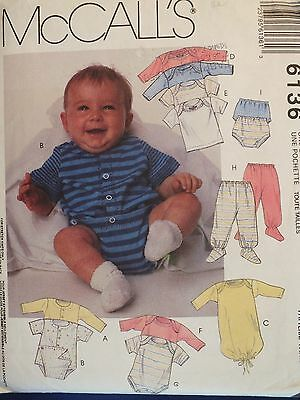 VTG McCALLS 6136 Infants Layette Package PATTERN NB-L Playsuit~Onesie~Sacque+ UC