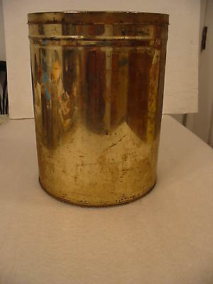 Vintage 1950's Gold Color Tin for Storing Crafting Supplies