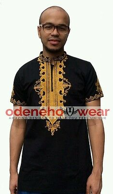 Odeneho Wear Men's Black Polished Cotton Top/GoldEmbroidery. African Clothing