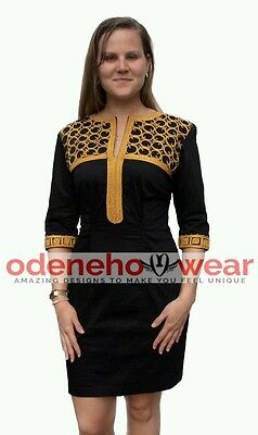 Odeneho Wear Ladies Black Polished Cotton Dress/ Embroidery.African Clothing.