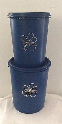 Vintage Blue Tupperware Canister Containers