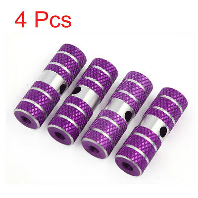 4pcs Purple Silver Tone Aluminum Alloy Cylinder Bicycle Axles Foot Pegs