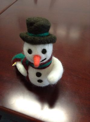Neddle Felted Snow Man Christmas Ornament Or Gift
