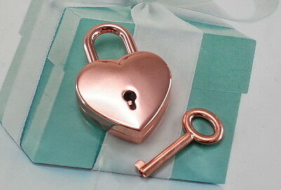 Vintage Style Heart Shaped Mini Padlock With Keys-Rose Gold Color