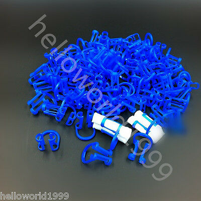 50pcs Cotton Roll Holder Clip Disposable Dental Isolator Tool Clinic Blue Color