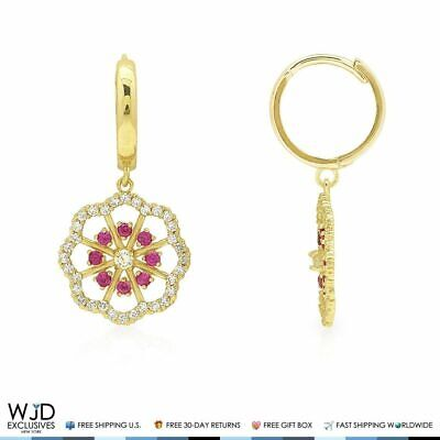 14K Yellow Gold 1Ct Created Diamond Ruby Flower Huggie Hoop Dangle Earrings 1""