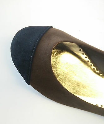 Women's flat shoes, brown and black, size 10