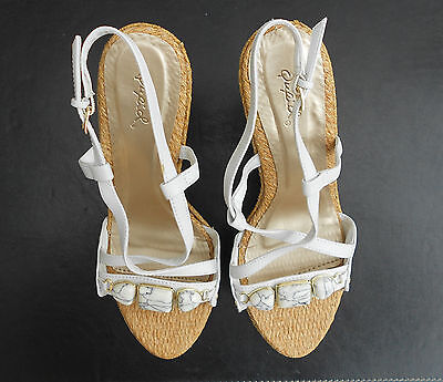 Women's  Wedge Sandals, 4.5 Inches Heels, Color White, Size 9
