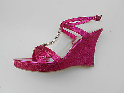 Women's Dress Shoes 4 Inches Wedge Heel Color Fuchsia Size 6. Hope