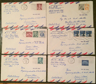 Six USA early 1960's Air Mail covers