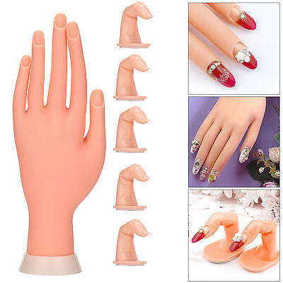 Practice Nail Art Silicone Trainer Manicure Training Hand Tool + 5 Finger Model