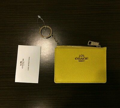 100% Authentic Coach F52394 Mini Skinny Leather Keyring Coin Purse Yellow