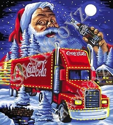 "Christmas Coca Cola Santa Latch Hook CHART ONLY 26"" x 28.8""Inches (see below)"