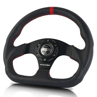 NEW JDM Black SPARCO Genuine Leather 320mm Racing Sport Steering Wheel with Horn