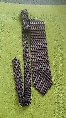 Tootal Vintage Tie Retro, Black Dark Red Patterned Wide Style