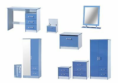 Marina Blue High Gloss Bedroom Furniture - Sets Wardrobe Drawers Bedside Desk