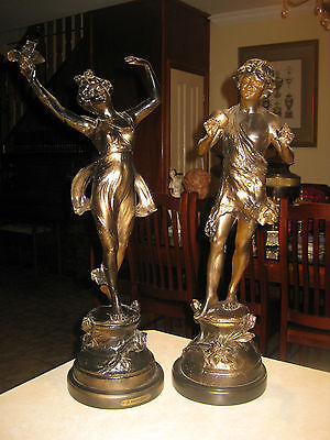 Antique French Bronze/spelter Huge Male & Female Pair Of Statues