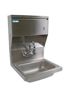 BK Resources Splash Mount Stainless Hand Sink w/ Towel Dispenser, Faucet