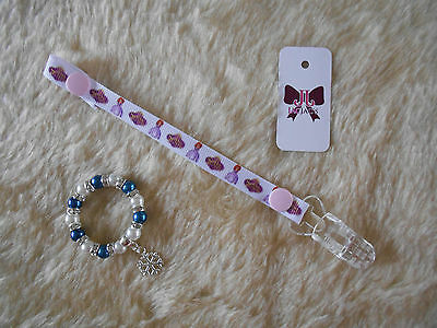 Reborn Baby Doll Dummy/Pacifier Clip and Bracelet Set, Sofia The First FREE P&P