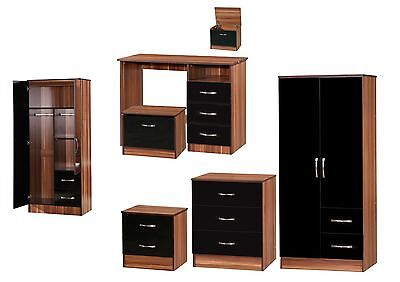 Marina Black Walnut High Gloss Bedroom Furniture - Sets Wardrobe Drawers Bedside