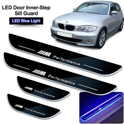 BMW 1 Series E87 (10-11) Blue LED ON Door Side Sill Scuff Protector Plate Trim