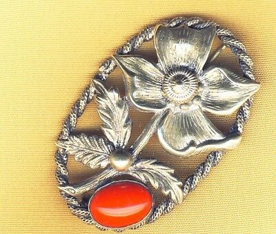 Rare Stunning Vintage Art Deco Red Glass Flower Brooch Pin